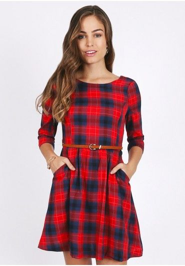 Dover Plaid Quarter Sleeve Dress In Red  at shopruche.com