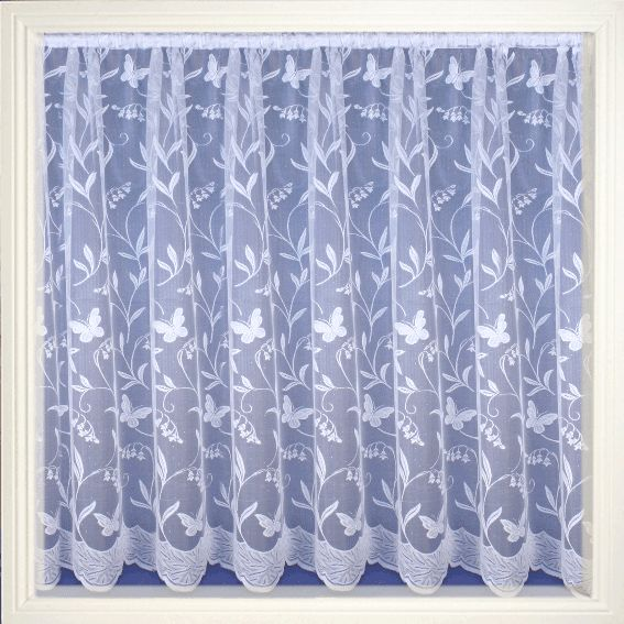 Net Curtain 103 (Butterfly) Pattern '103' Available in the following drop lengths – 36″, 40″, 45″, 48″, 54″, 72″, 90″ Curtains are 100% Polyester – Hand Washable at 30 degrees