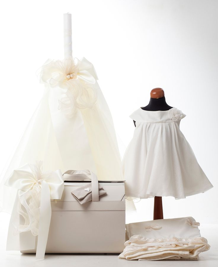 #handmade #baptism dress with matching Towels, Bag & Votive Candle - Jiouli Wedding Couture