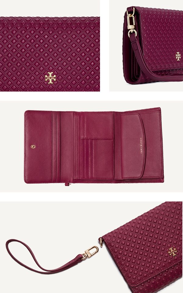 Tory Burch The Marion Embossed Tri-Fold Smartphone Wristlett | Red Agate | A polished metal logo meets intricate detailing. Our new Marion Embossed Tri-Fold Smartphone Wristlet is made of leather with a diamond pattern, and pulls double duty as the all-in-one for your mobile — it fits an iPhone 6 — and your cash and cards. Featuring plenty of pockets and compartments, with a snap closure and a removable strap, it's secure and convenient on the go — and works as a chic clutch for evening.
