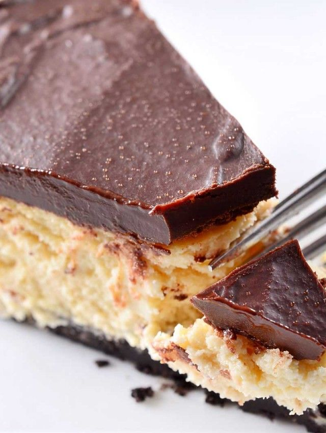Luscious Bailey's Irish Cream Cheesecake with a decadent chocolate ganache topping. No! naughty, was'nt me!