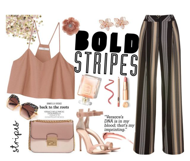 """""""Untitled #497"""" by kat-van-d ❤ liked on Polyvore featuring NAKAMOL, Topshop, TIBI, Gianvito Rossi, MICHAEL Michael Kors, Miss Selfridge and stripedpants"""