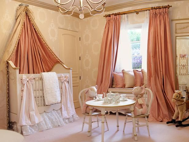 A European-inspired nursery fit for a royal princess was the vision for Dr. Phil's first granddaughter, Avery Elizabeth. The heirloom-quality crib, featuring gold-leaf accents, sits under a canopy of silk fabric, and the hand-stitched Lulla Smith crib bedding is coveted by celeb parents such as Jennifer Lopez, Courteney Cox and Katie Holmes.