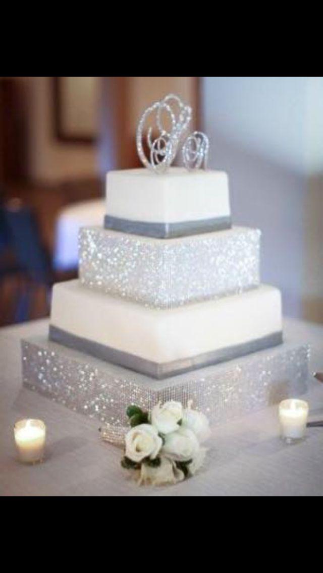 Beautiful glitzy glam wedding cake. Sooo glittery #glitter #glitz #glam…