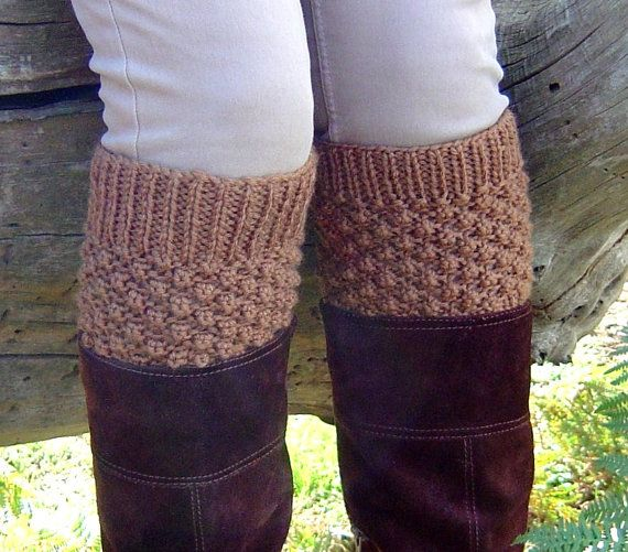 KNITTING PATTERN Boot Cuff Boot Toppers - Easy Bramble Stitch Pattern in 3 si...