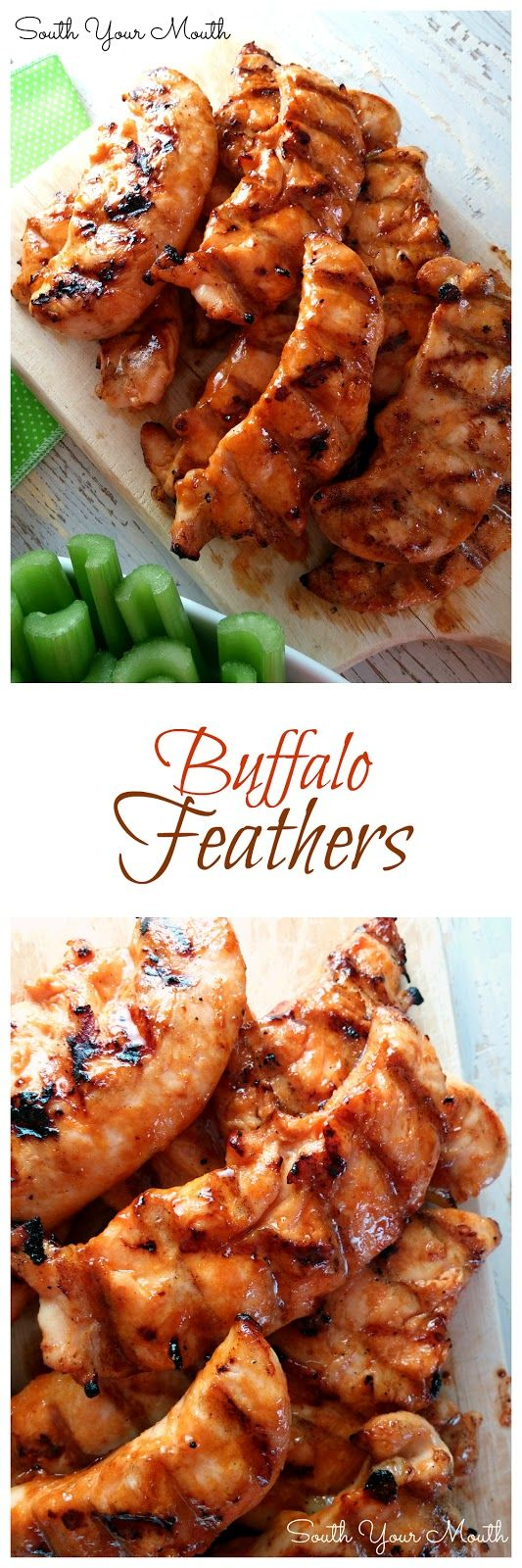 """Buffalo Feathers"" are grilled chicken tenders sauced like wings (similar to Wild Wing Cafe's). This recipe for wing sauce has just enough brown sugar to balance the acidic pepper sauce without being cloyingly sweet and the soy sauce gives it another layer of flavor. I think I might have found my new favorite wing sauce recipe! FOR REAL! So good!"