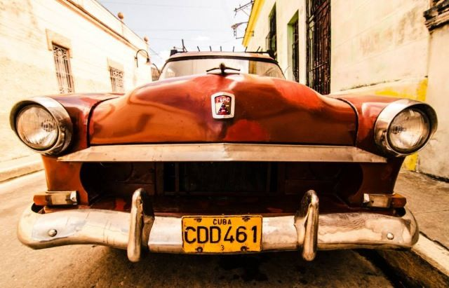 Cuban red old car.