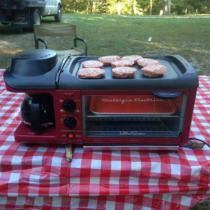 Little camp cooker!!! http://baitcastfishreels.com/shop/camping-gear/nostalgia-electrics-retro-series-3-in-1-breakfast-station/                                                                                                                                                      More