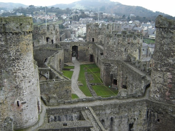 Conwy Castle in Wales- the walkways on the top are so wide you could drive a Car on them!