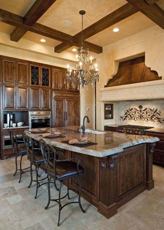 Mediterranean Kitchen with Brantford Oil Rubbed Bronze Pullout Spray Bar Faucet…