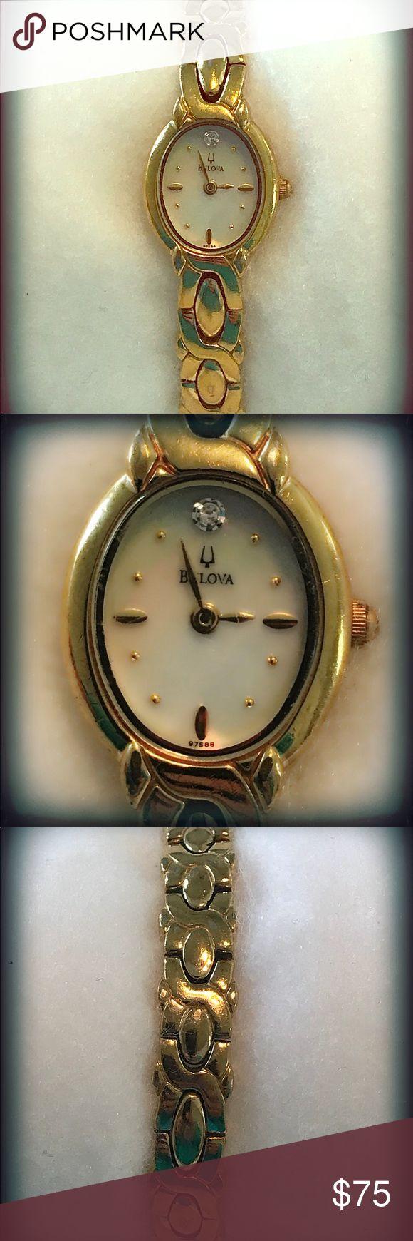Ladies Bulova Watch Gold Tone Women's Bulova Watch with Opal Face. Bulova Accessories Watches