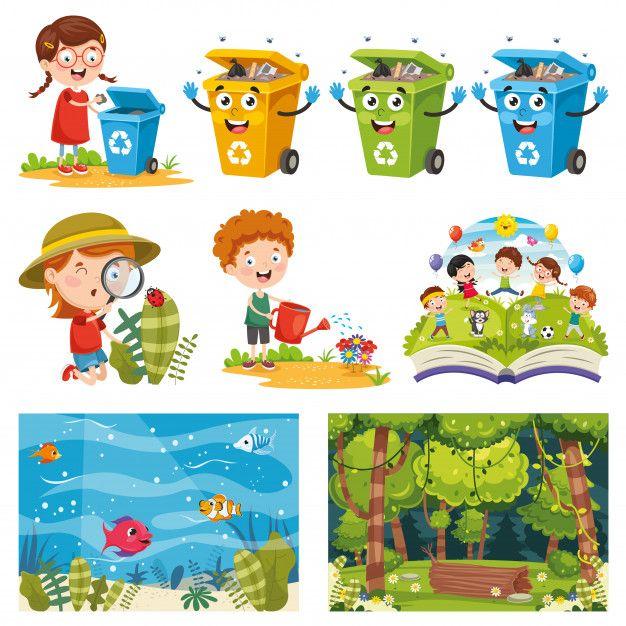 Vector Illustration Of Environment Elements Vector Illustration Earth For Kids Enviroment Kids