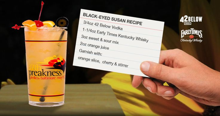 Black-eyed Susan drink recipe. Official drink of the Preakness in a comemorative glass.