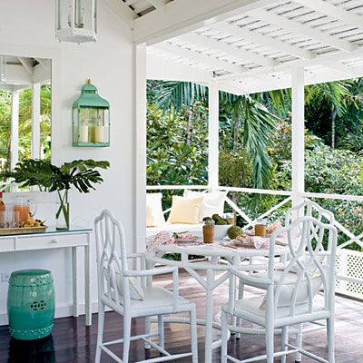 Nashviille-kitchen ChinoiserieBeach House, Outdoor Living, White, Coastal Living, Patios, Porches, Gardens Stools, Bamboo Furniture, Outdoor Spaces