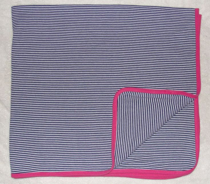 Carters Blue Stripe Baby Receiving Blanket Hot Pink Trim Stretch Knit Cotton #Carters