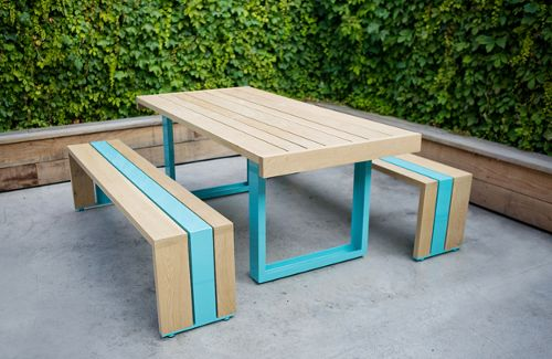 Modern Picnic Tables by Scout Regalia. Available in 210 colours.