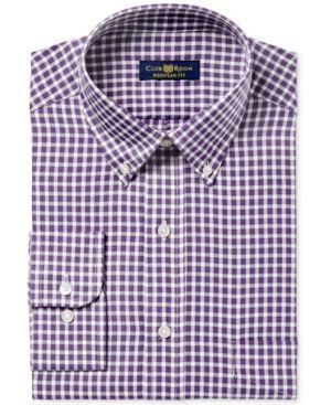 Club Room Men's Classic/Regular Fit Twill Block Check Dress Shirt, Created f…