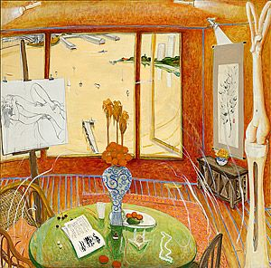 Brett WHITELEY, Interior with time past, 1976, Painting, oil, charcoal and ink on canvas 182.0 h x 200.0 w cm