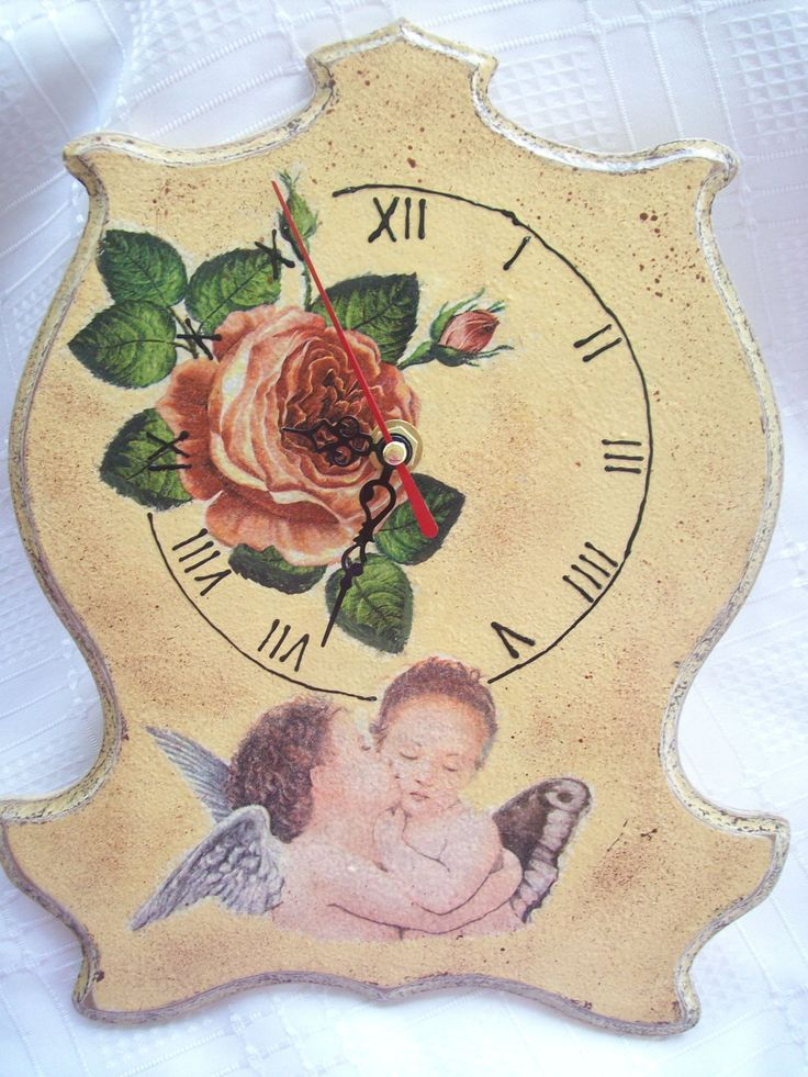 Wall Clock Vintage Angels and Rose/ Decoupage wall clock/ Vintage wall clock / by ZornicaArtshop on Etsy