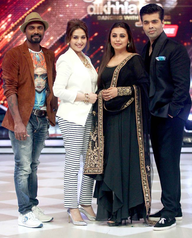 Rani Mukerji with 'Jhalak Dikhhla Jaa 7' judges Remo D'Souza, Madhuri Dixit and Karan Johar on 'Jhalak Dikhhla Jaa 7'. #Style #Bollywood #Fashion #Beauty