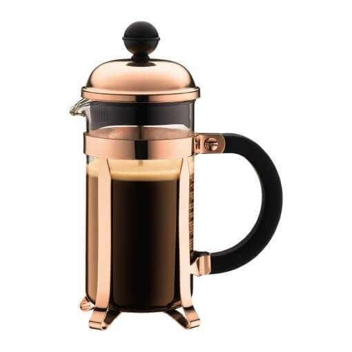 The french press is one of the world's classic coffee makers. The Bodum Chambord Copper 3 Cup press pays tribute to the original french press design but features a hint of contemporary design as well: a copper-plated finish.