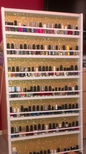 Nail Polish Wall Display? | Beautylish  I want one.. I'd want black glitter in the back instead :)