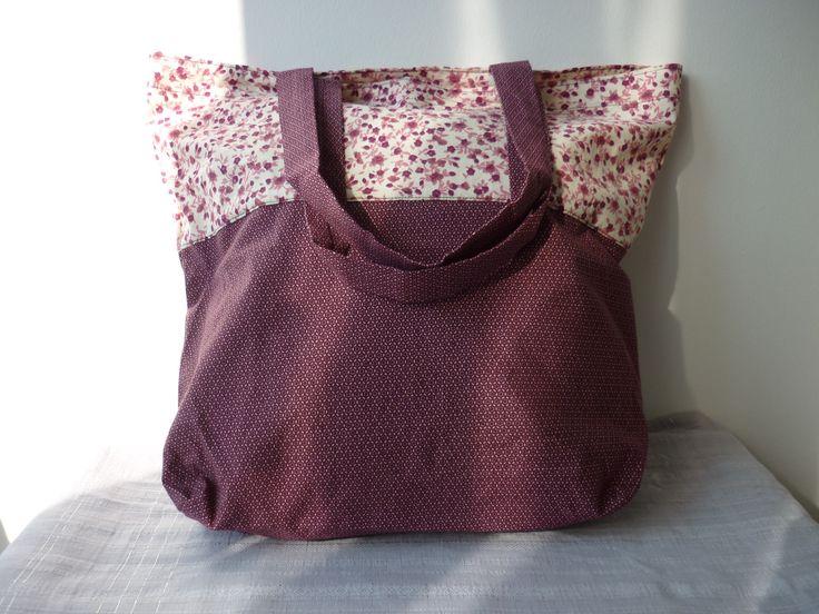 sac pour shopping totebag tons prune, vieux rose