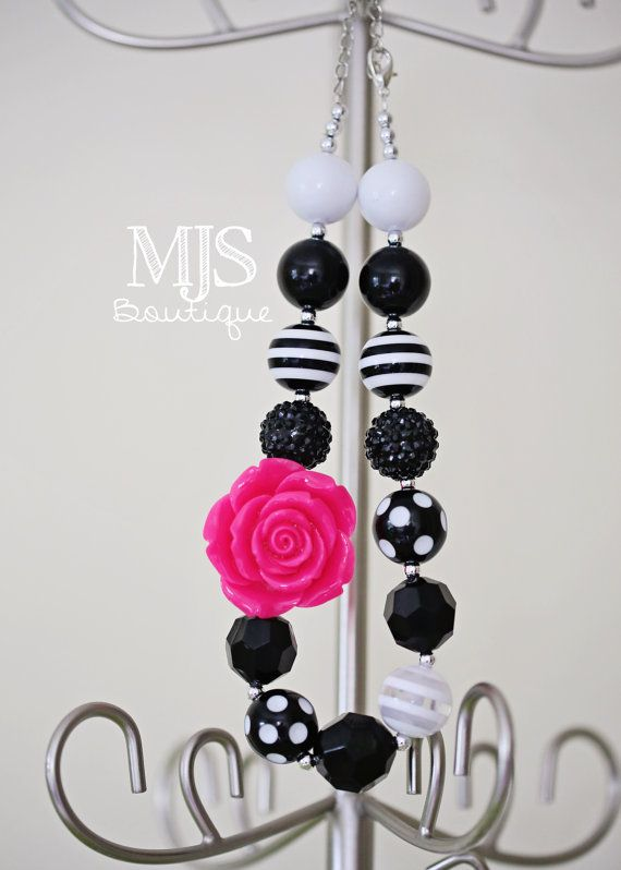 Hot Pink  and Black Rose Bubblegum necklace by MJsChicBoutique, $20.00
