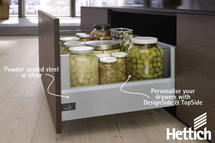 Get incredible design flexibility with the ArciTech drawer from Hettich. The timeless, sleek design first perfectly into any kitchen or home environment. Made of high quality materials, the components are colour coordinated – for a consistent design thread with infinite potential for creativity. Click on the pin for more inspiration & information. #kitchendrawers #kitchenorganization