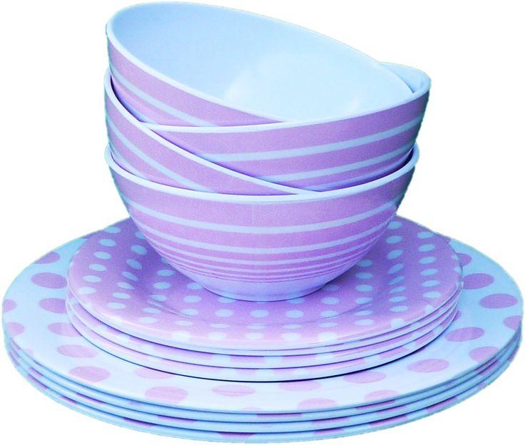 Wholesale 3 Piece Melamine Dinnerware Set - Pink (Case of 72)