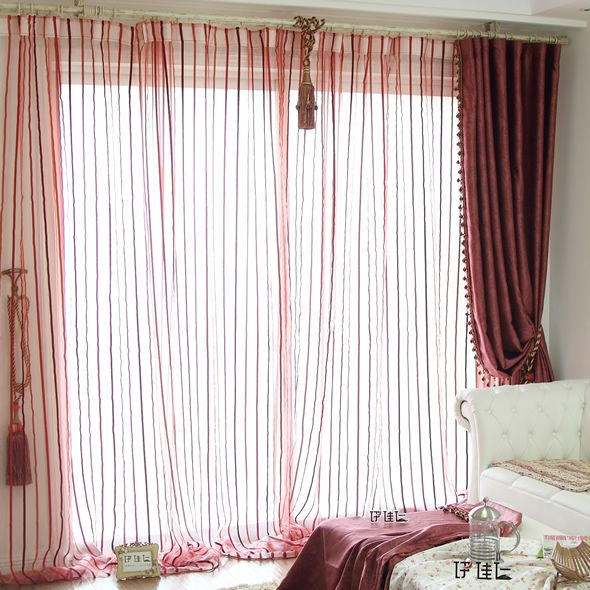 Striped curtains screens living room bedroom balcony window screen