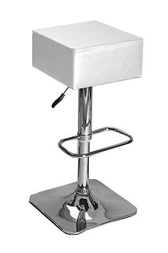 Moderno taburete, disponible en color blanco, plata y negro.