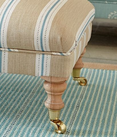 Stockholm Stripe Footstool - Mushroom, Teal, Winter