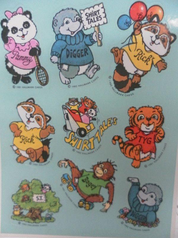 Vintage Shirt Tales Stickers by Hallmark 1981  1 sheet