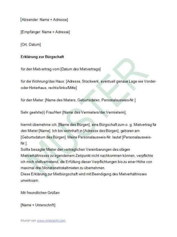 Imdetail Burgschaft Miete Vorlage Flugblatt Design Vorlagen Vorlagen Word