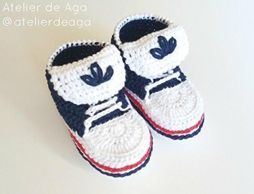 Oferta: 22.95€ Dto: -8%. Comprar Ofertas de Patucos sneakers de primera puesta tipo converse adidas hechos a mano 100% algodón talla 0-3 meses azul marino para niño niña barato. ¡Mira las ofertas!
