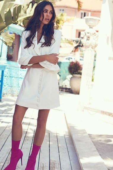 White Wrap Blazer Dress --  SILK FRED.  https://www.silkfred.com/boutiques/girls-on-film/clothing/white-wrap-blazer-dress