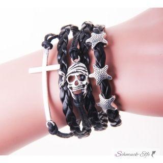 Armband  Kreuz, Sterne & Skull Pirat schwarz  im Organza...