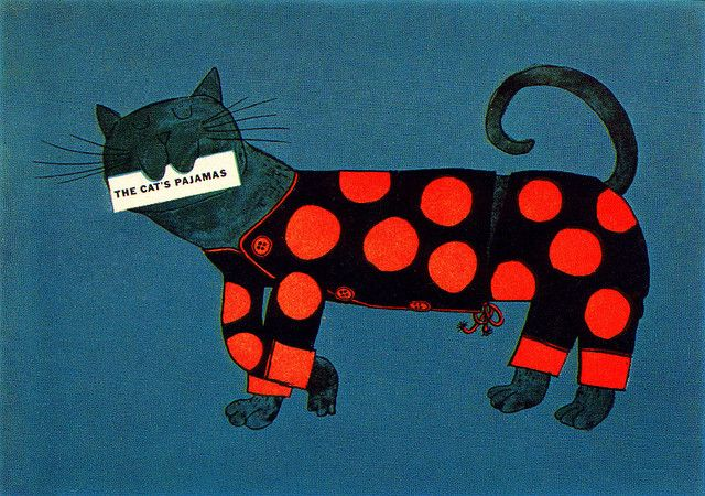 Irving Miller/Bernard Simpson Illustration | Cover of a mailing piece for Sanforized products. From Graphis Annual 60/61. #cat #graphic design #illustration