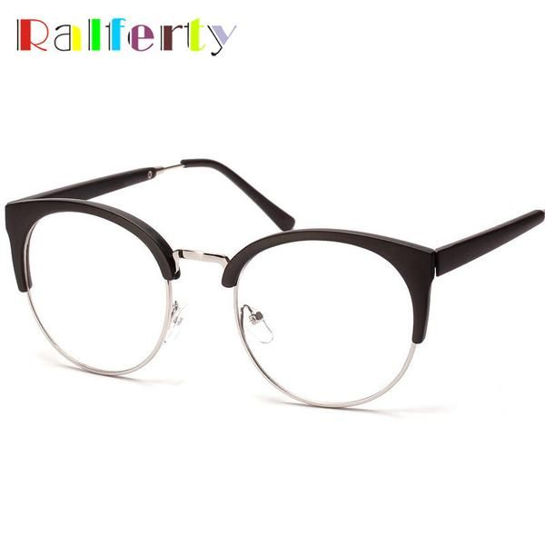 dfb2137a5c5 FuzWeb Ralferty Korea Round Semi-Rimless Eyeglasses Frames Eyewear Men  Women Vintage Transparent Lens Myopia Optic Frame Oculos 0028