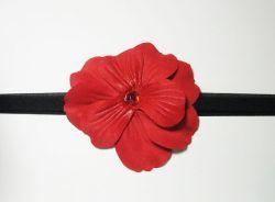 Baby Wisp Hawaiian Breeze Headband. This red flower headband is light and a comfortable headband for babies.