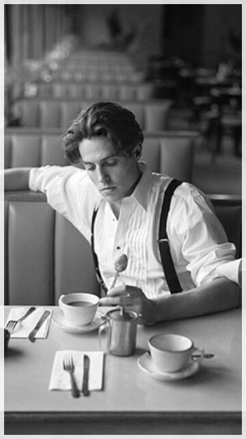 Famous people drinking coffee.  Thinking coffee ???  Hugh Grant