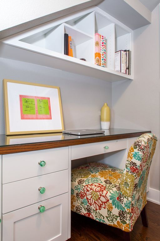 Traditional Home Office with Built-in bookshelf, Hardwood floors, Capa Floral Slipper Chair, Cathedral ceiling