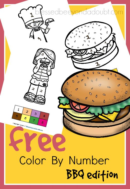 Free Bbq Color By Number Free Teaching Resources