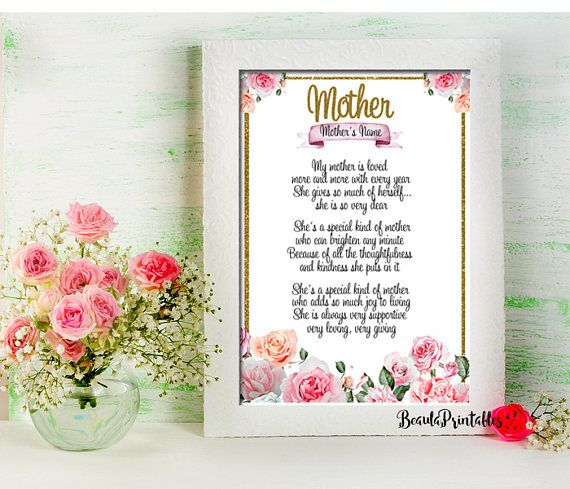 Mother's Day Print Personalized Poem for Mother