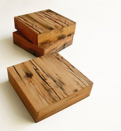 uusi Architectural Storage Boxes made of reclaimed old-growth Redwood and Cypress. The wood is milled from early 20th century water towers built in Chicago, and the boards are carefully chosen from the 300+ year-old wood for naturally aged characteristics.