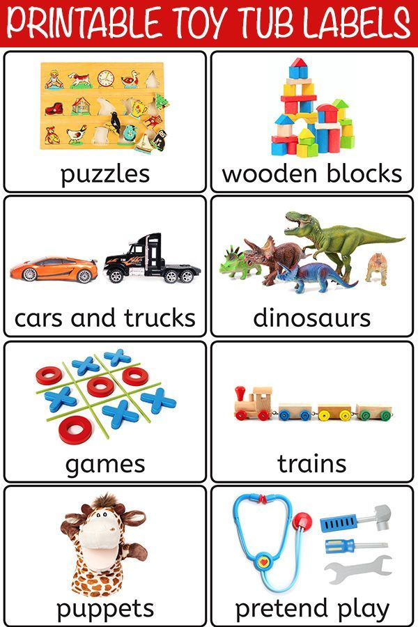 graphic regarding Free Printable Classroom Labels called 28 Cost-free Printable Toy Bin Labels for Playroom Storage