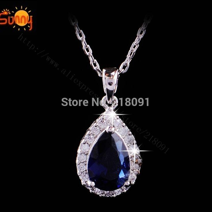 Роскошь циркон ожерелье синий груза падения хрустальными подвесками для ожерелья женщина роскошь мода ожерелья шкентеля