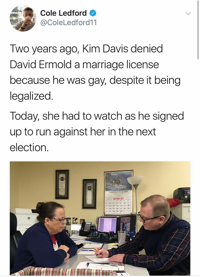 Ain't Karma Wonderful? Here's hoping she has to watch as he wins against her bigoted homophobic ass!!