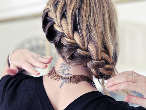 braid, braid, braid.: Braids Hairstyles, Waterf Braids, Frenchbraid, Haircolor, Neck Tattoo, Hair Style, Side Braids, Side French Braids, Hair Color
